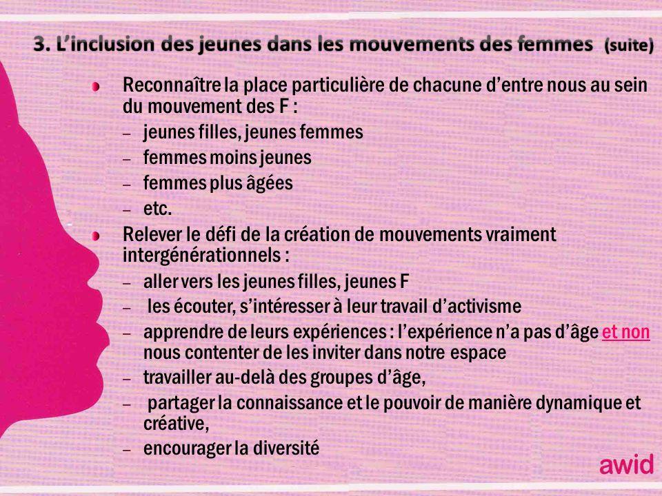 3. L'inclusion des jeunes dans les mouvements des femmes (suite)