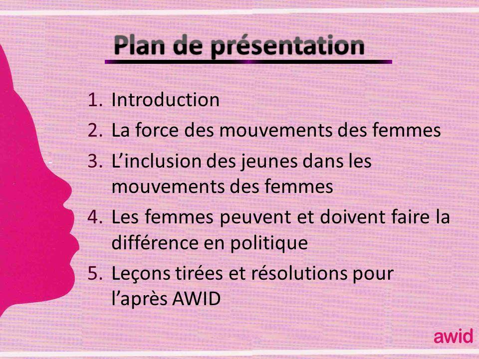 Plan de présentation Introduction La force des mouvements des femmes