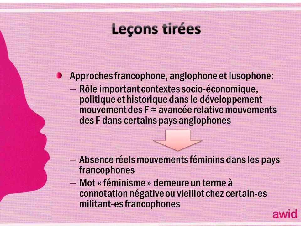 Leçons tirées Approches francophone, anglophone et lusophone: