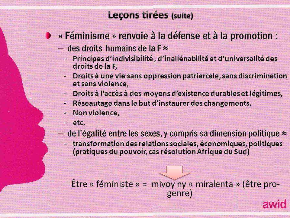 Être « féministe » = mivoy ny « miralenta » (être pro-genre)