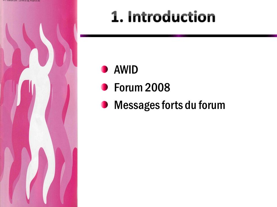 1. Introduction AWID Forum 2008 Messages forts du forum
