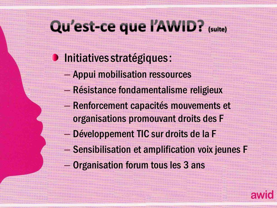 Qu'est-ce que l'AWID (suite)