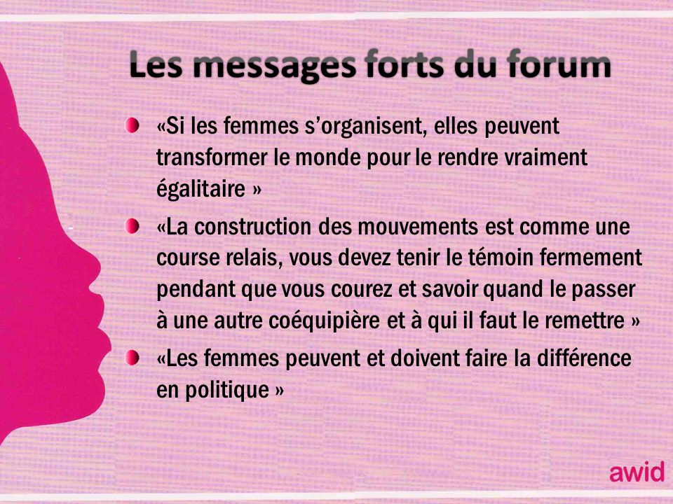 Les messages forts du forum
