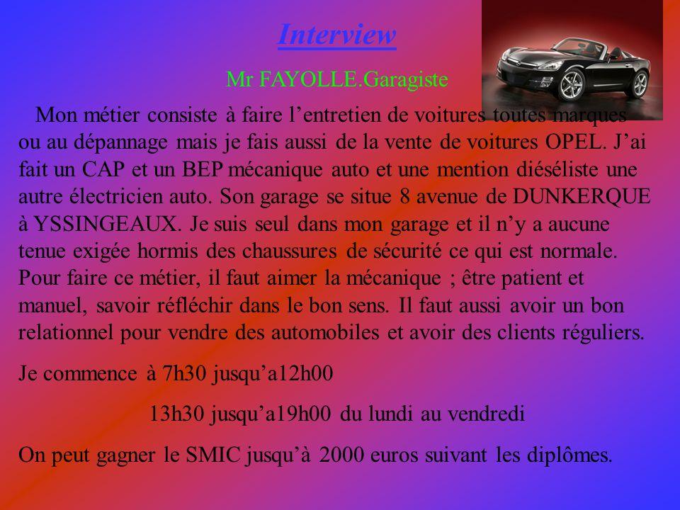 Interview Mr FAYOLLE.Garagiste