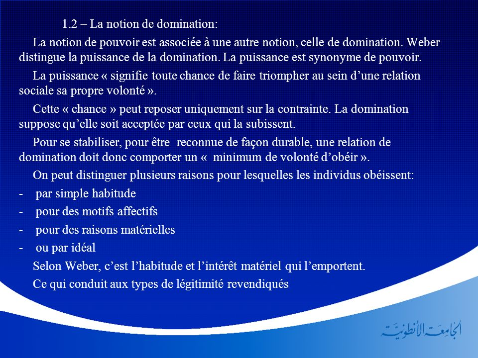 1.2 – La notion de domination: