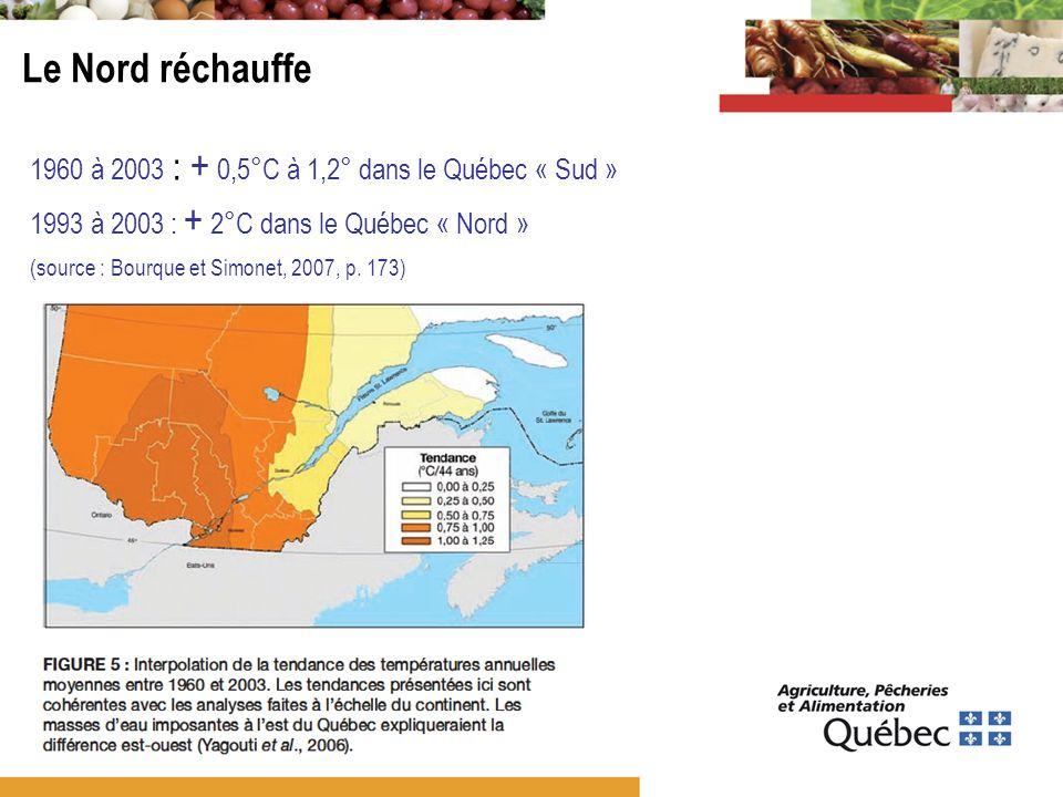 Le Nord réchauffe 1960 à 2003 : + 0,5°C à 1,2° dans le Québec « Sud »