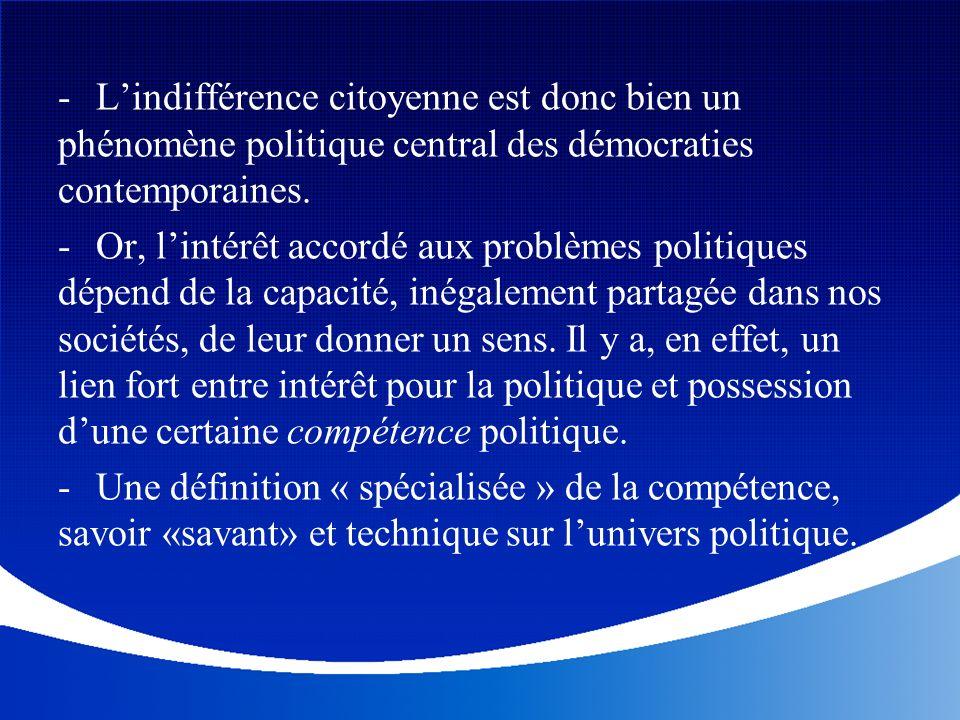 L'indifférence citoyenne est donc bien un phénomène politique central des démocraties contemporaines.