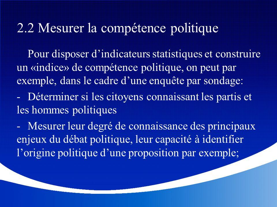 2.2 Mesurer la compétence politique