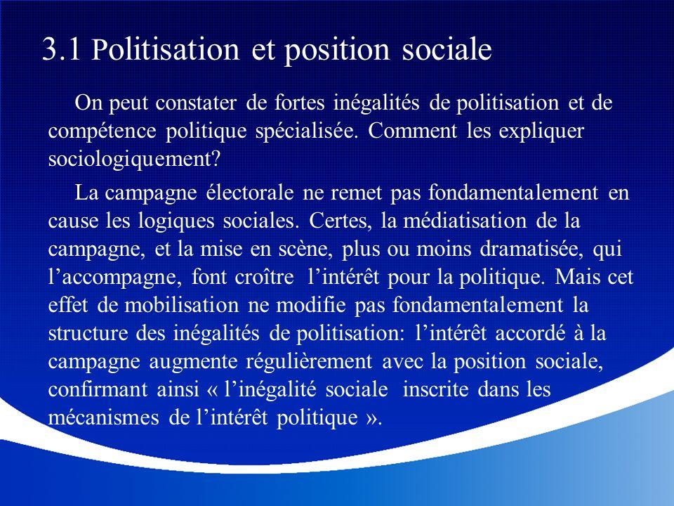 3.1 Politisation et position sociale