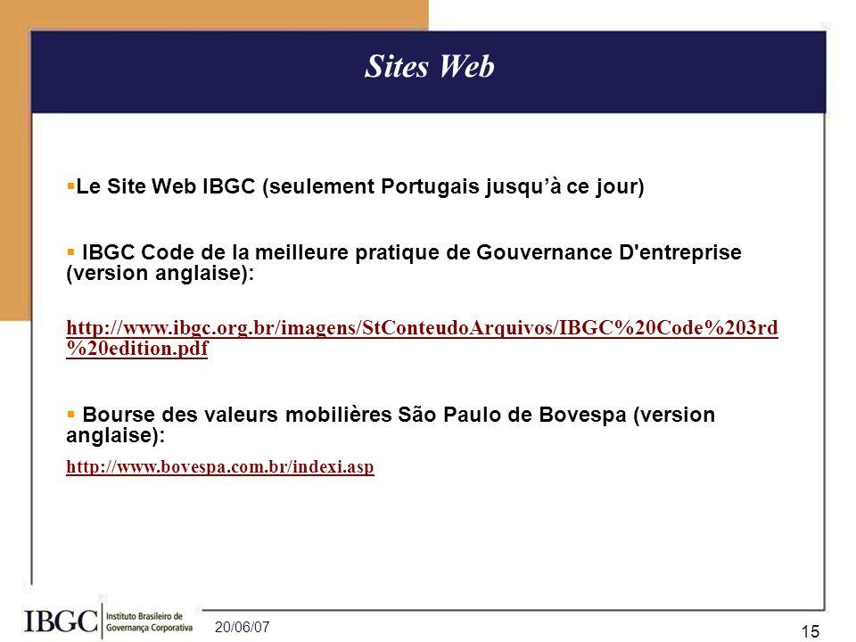 Sites Web Le Site Web IBGC (seulement Portugais jusqu'à ce jour)