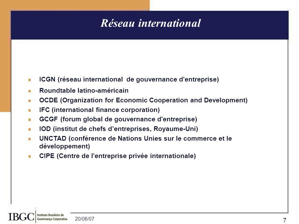 Réseau international ICGN (réseau international de gouvernance d entreprise) Roundtable latino-américain.