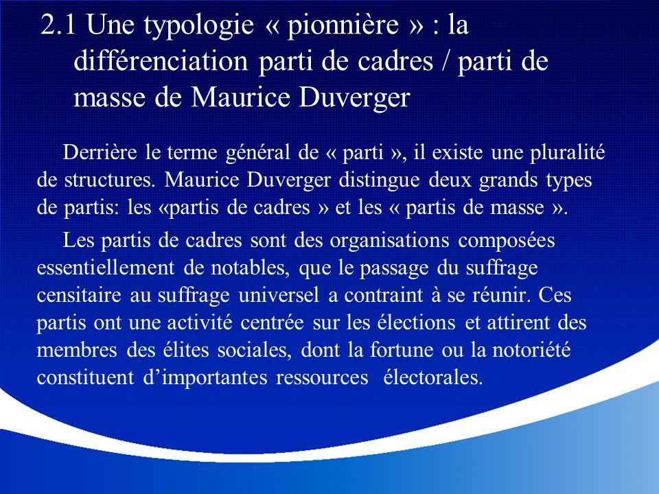 2.1 Une typologie « pionnière » : la différenciation parti de cadres / parti de masse de Maurice Duverger
