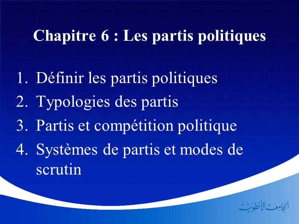 Chapitre 6 : Les partis politiques