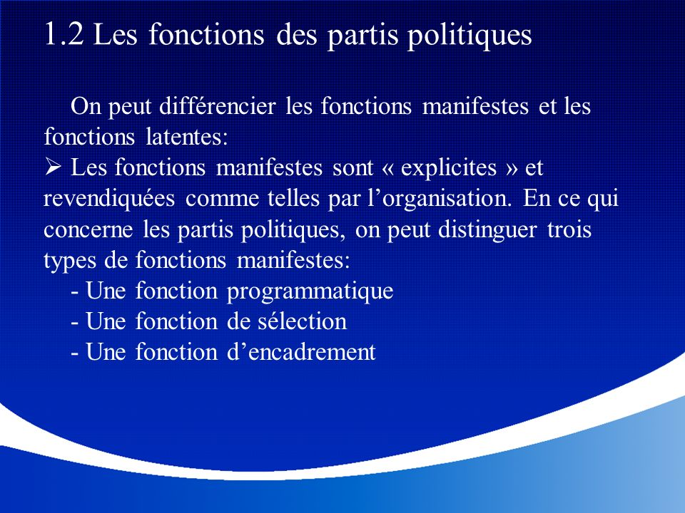 1.2 Les fonctions des partis politiques