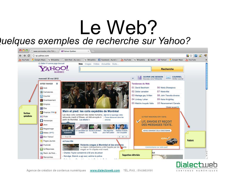 Quelques exemples de recherche sur Yahoo