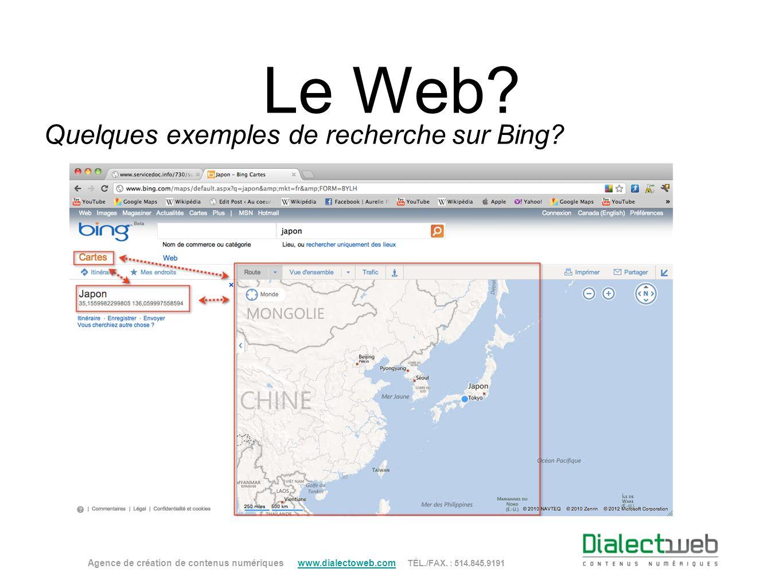 Quelques exemples de recherche sur Bing