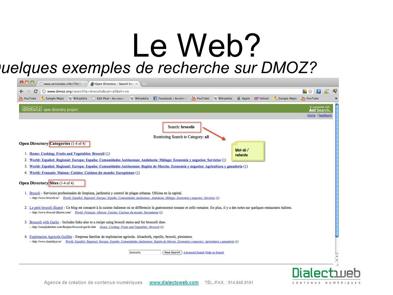 Quelques exemples de recherche sur DMOZ