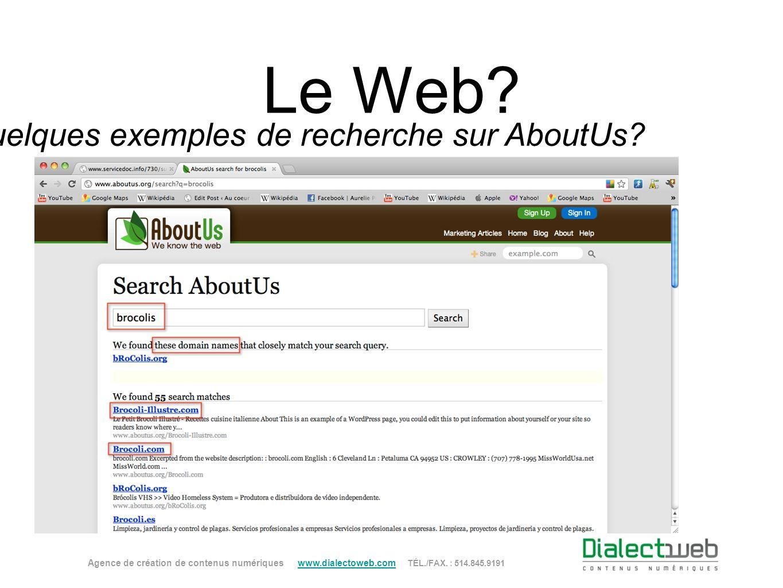 Quelques exemples de recherche sur AboutUs