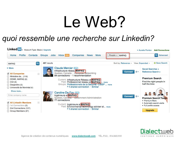 À quoi ressemble une recherche sur Linkedin