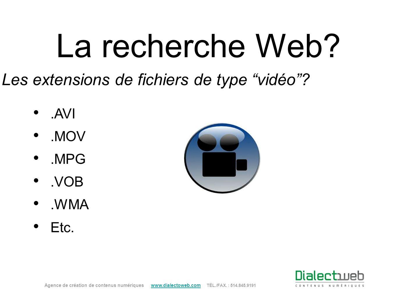 Les extensions de fichiers de type vidéo