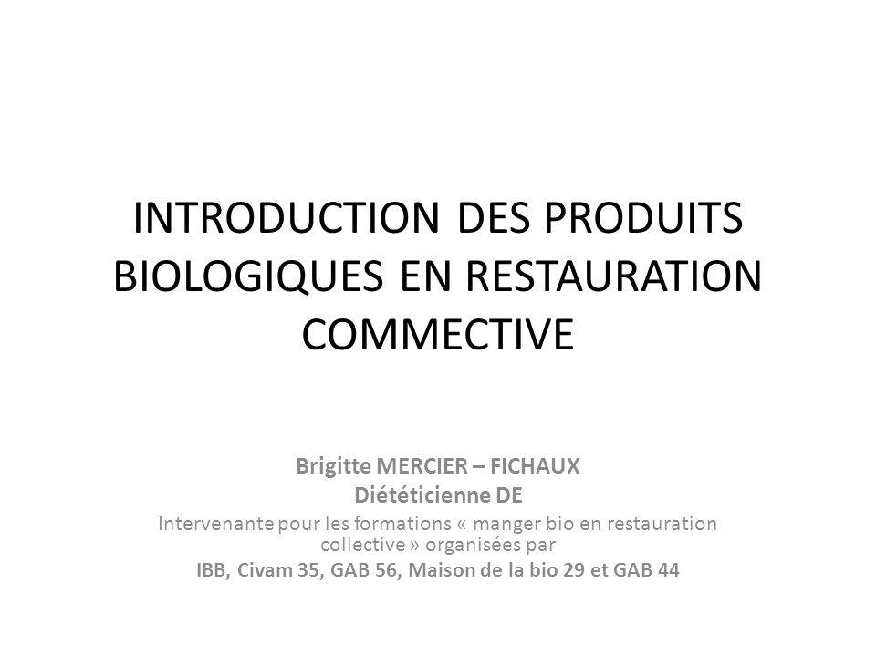INTRODUCTION DES PRODUITS BIOLOGIQUES EN RESTAURATION COMMECTIVE