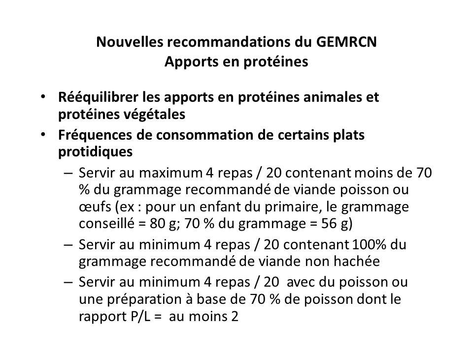 Nouvelles recommandations du GEMRCN Apports en protéines
