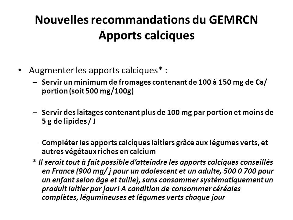 Nouvelles recommandations du GEMRCN Apports calciques