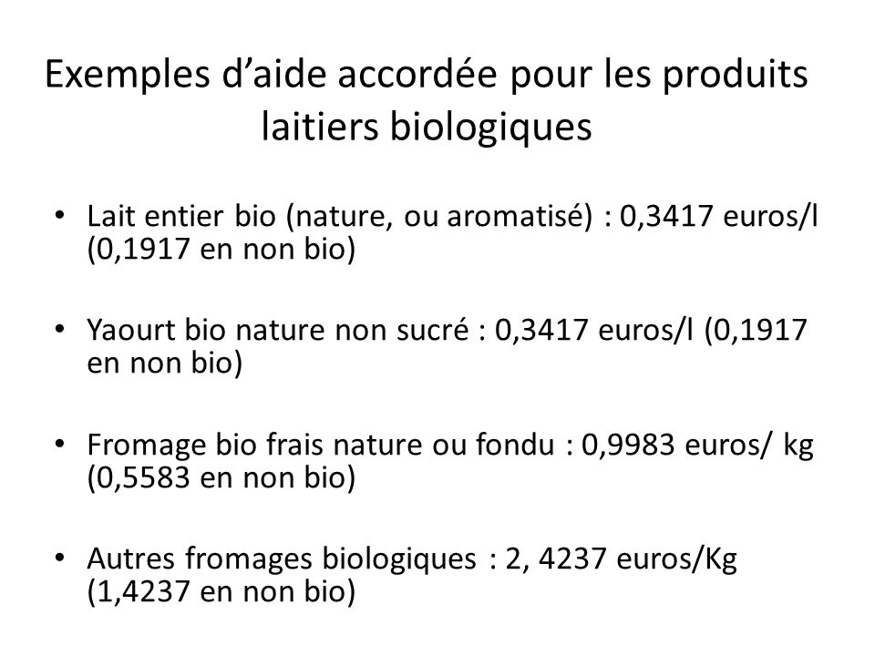 Exemples d'aide accordée pour les produits laitiers biologiques