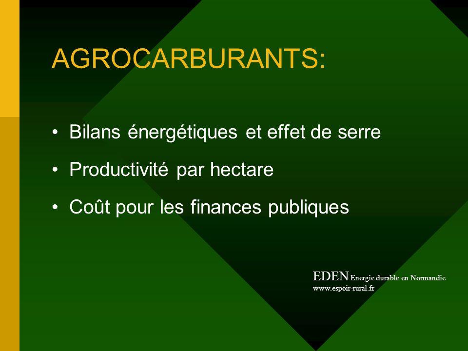 AGROCARBURANTS: Bilans énergétiques et effet de serre