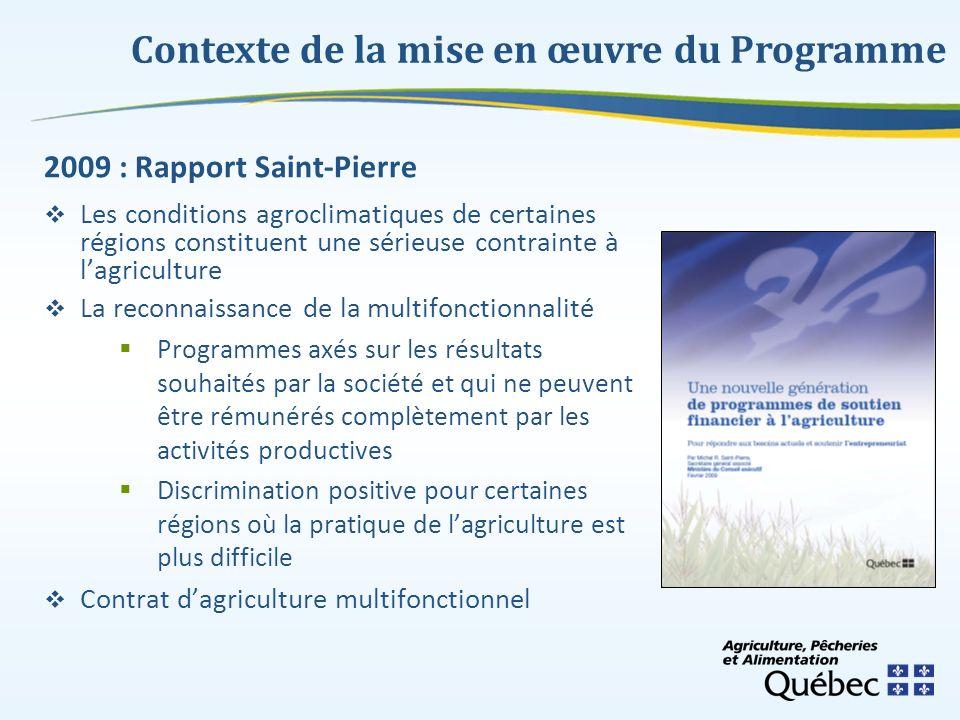 Contexte de la mise en œuvre du Programme