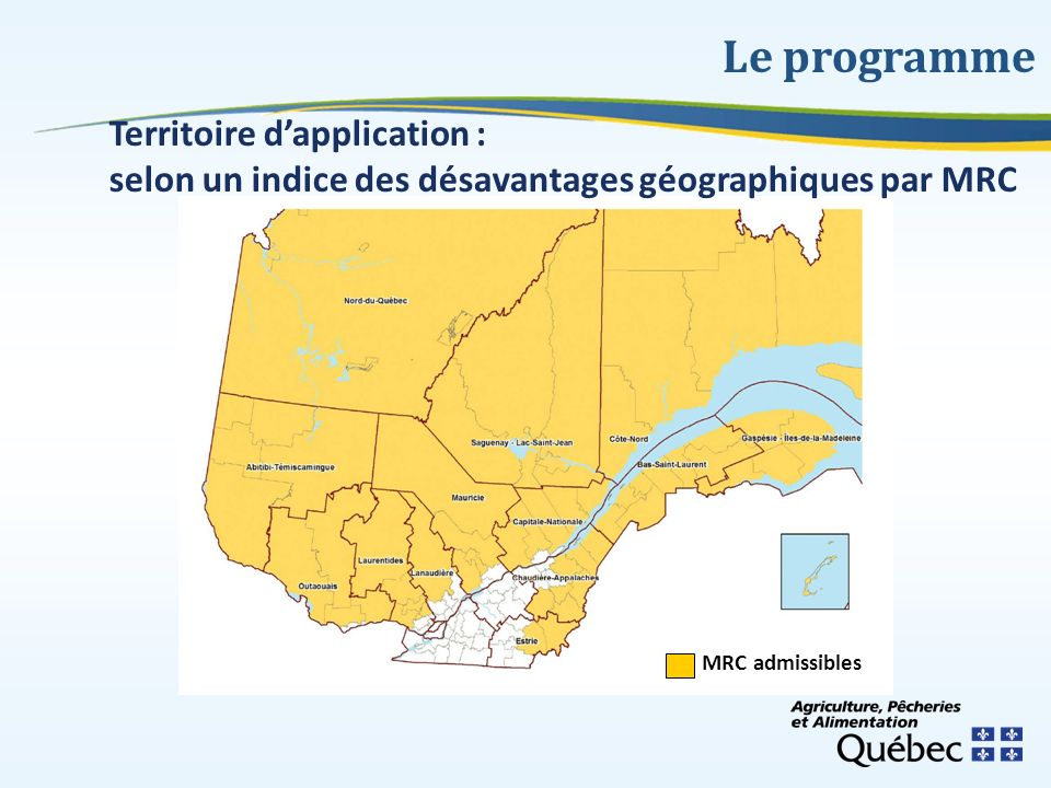 Le programme Territoire d'application :