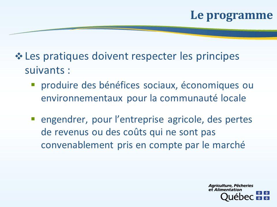 Le programme Les pratiques doivent respecter les principes suivants :