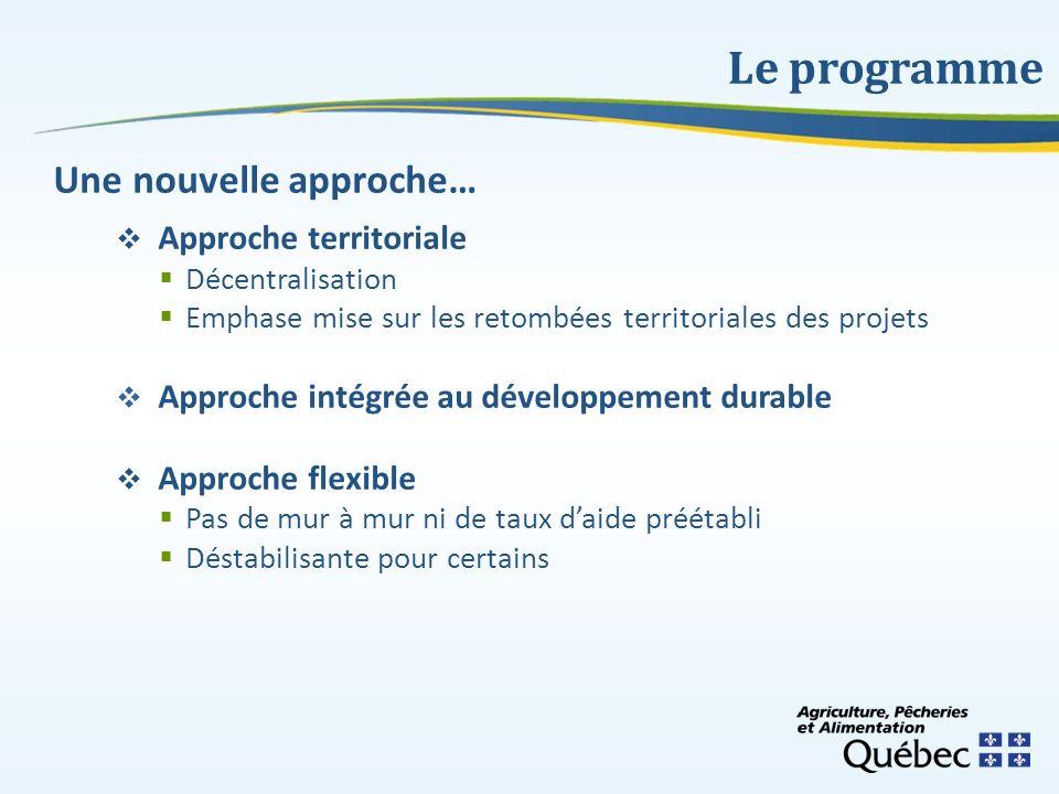 Le programme Une nouvelle approche… Approche territoriale