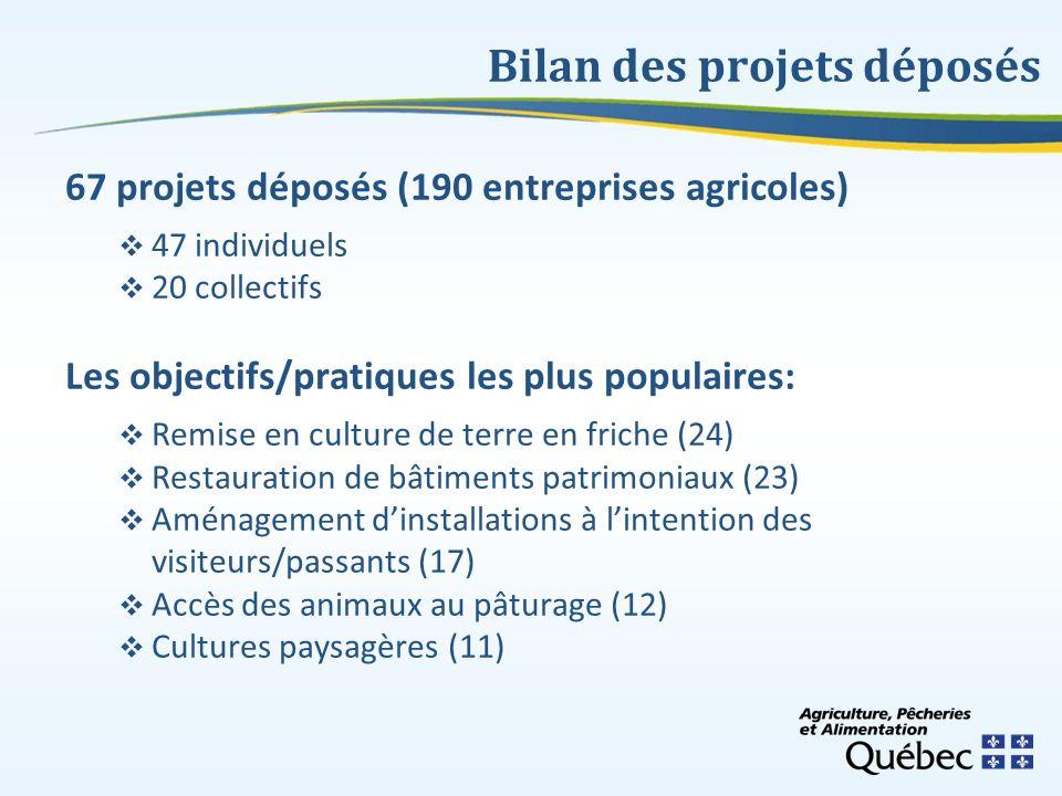 Bilan des projets déposés