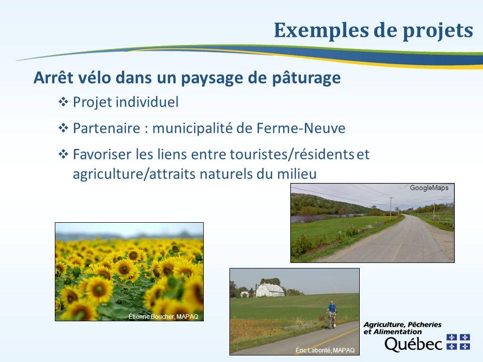 Exemples de projets Arrêt vélo dans un paysage de pâturage