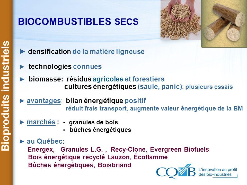 BIOCOMBUSTIBLES SECS ► densification de la matière ligneuse