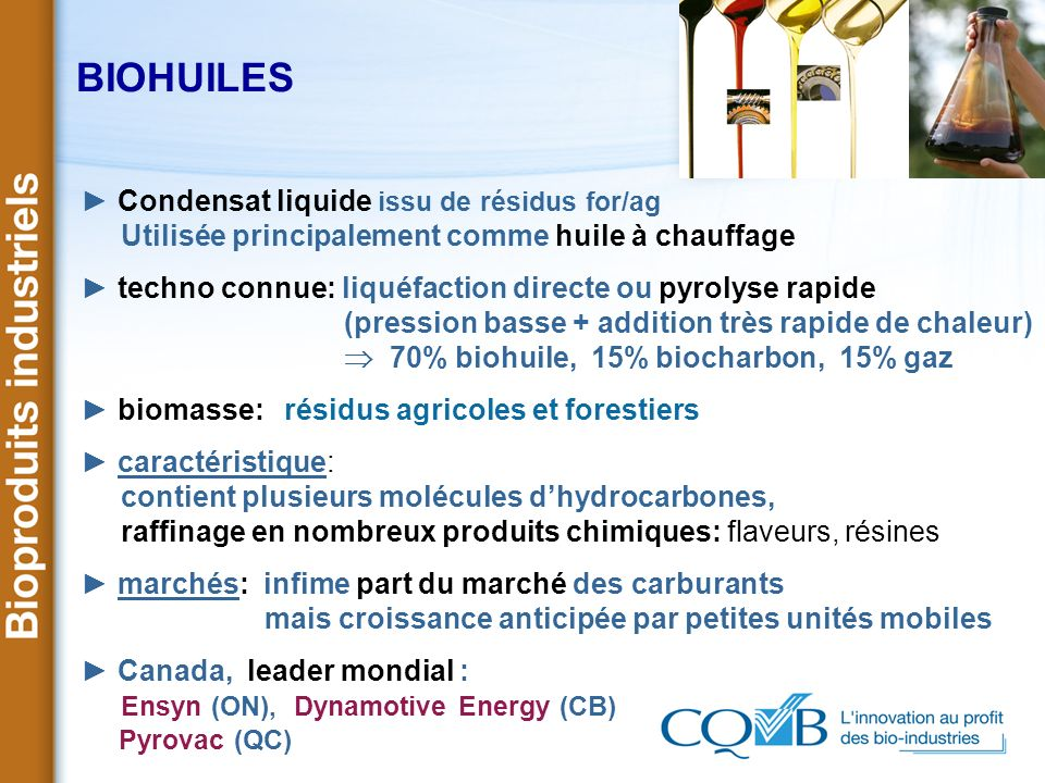 BIOHUILES ► Condensat liquide issu de résidus for/ag