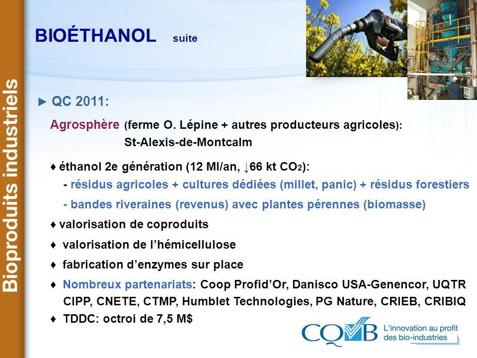 BIOÉTHANOL suite► QC 2011: Agrosphère (ferme O. Lépine + autres producteurs agricoles): St-Alexis-de-Montcalm.