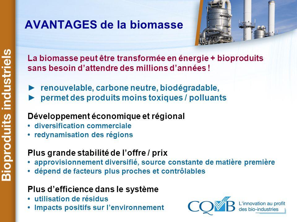 AVANTAGES de la biomasse