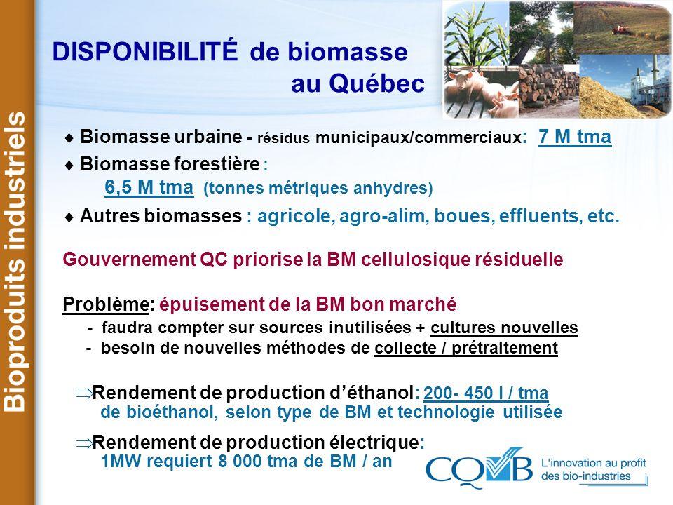 DISPONIBILITÉ de biomasse au Québec