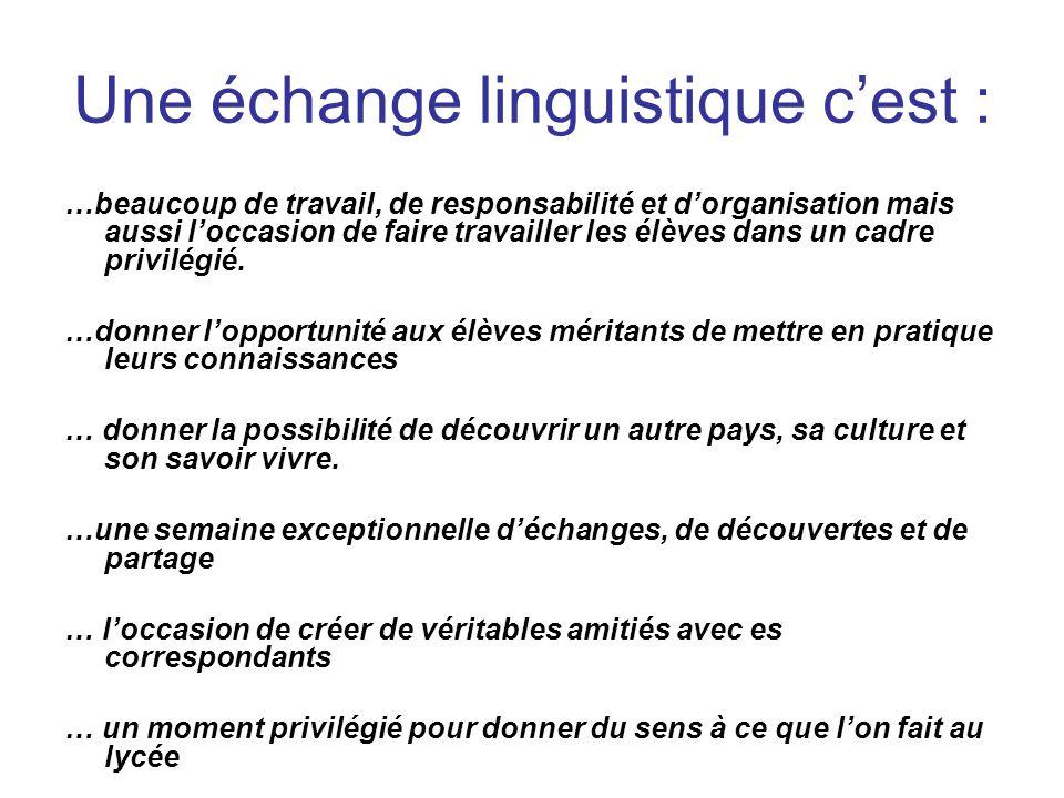 Une échange linguistique c'est :