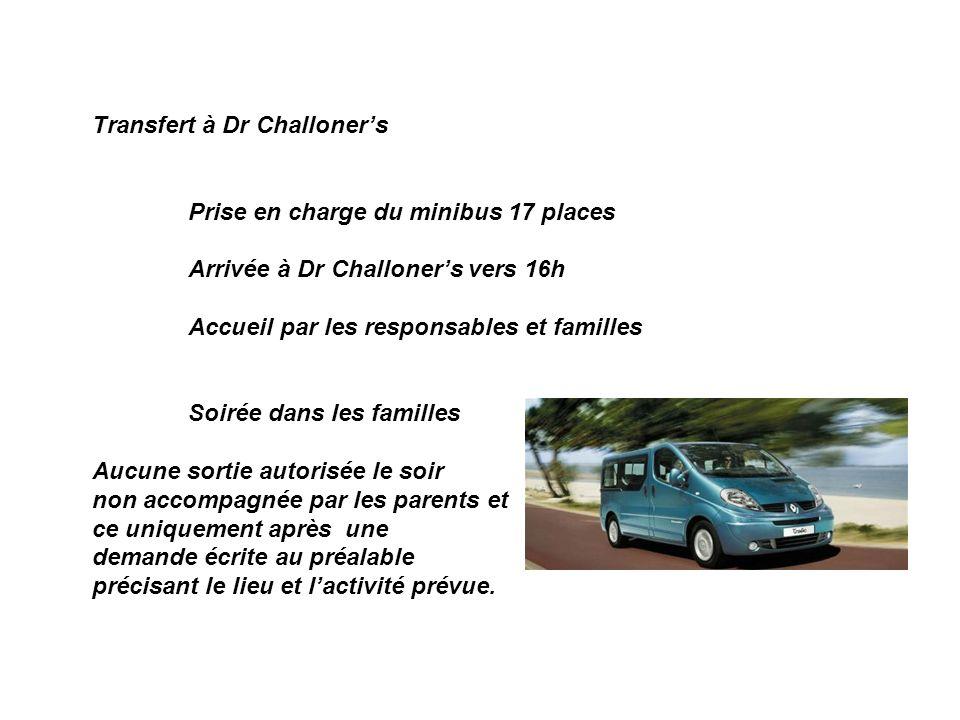 Transfert à Dr Challoner's