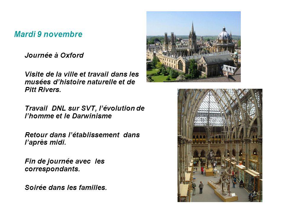 Mardi 9 novembre Journée à Oxford
