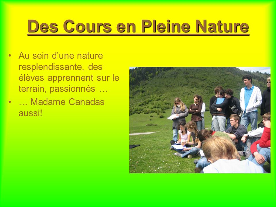 Des Cours en Pleine Nature