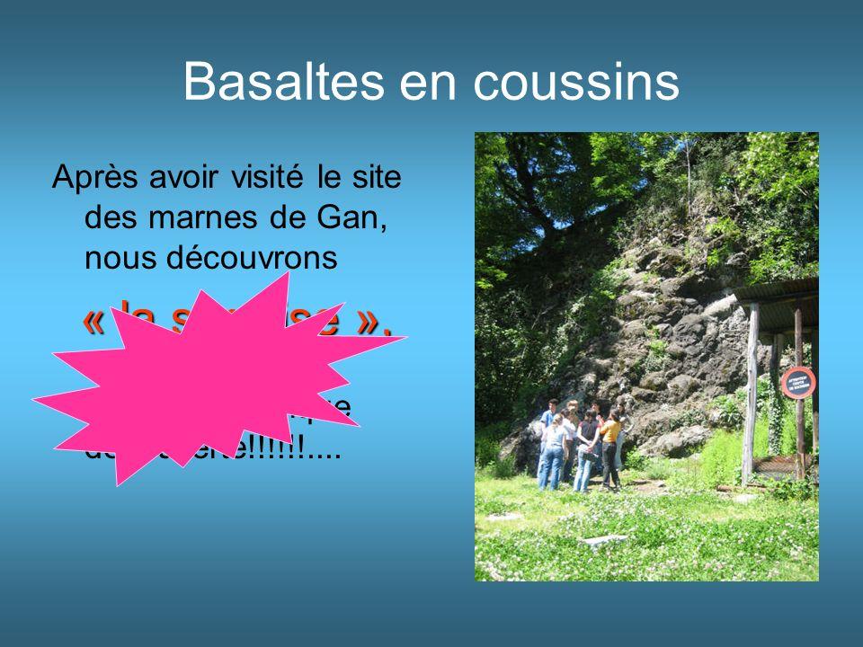 Basaltes en coussins Après avoir visité le site des marnes de Gan, nous découvrons.