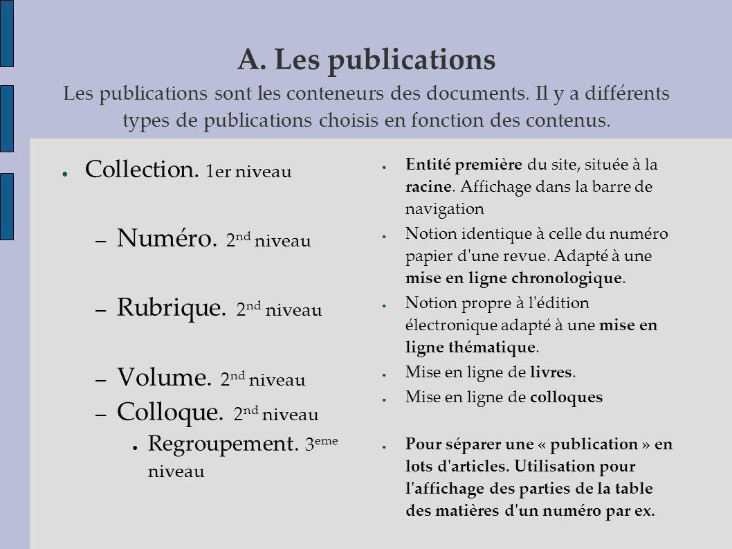 A. Les publications Les publications sont les conteneurs des documents
