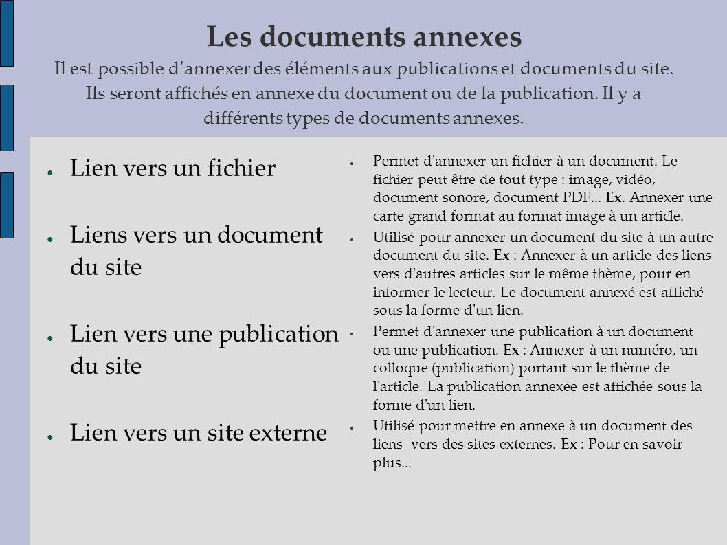 Les documents annexes Il est possible d annexer des éléments aux publications et documents du site. Ils seront affichés en annexe du document ou de la publication. Il y a différents types de documents annexes.