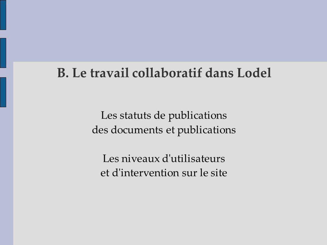 B. Le travail collaboratif dans Lodel