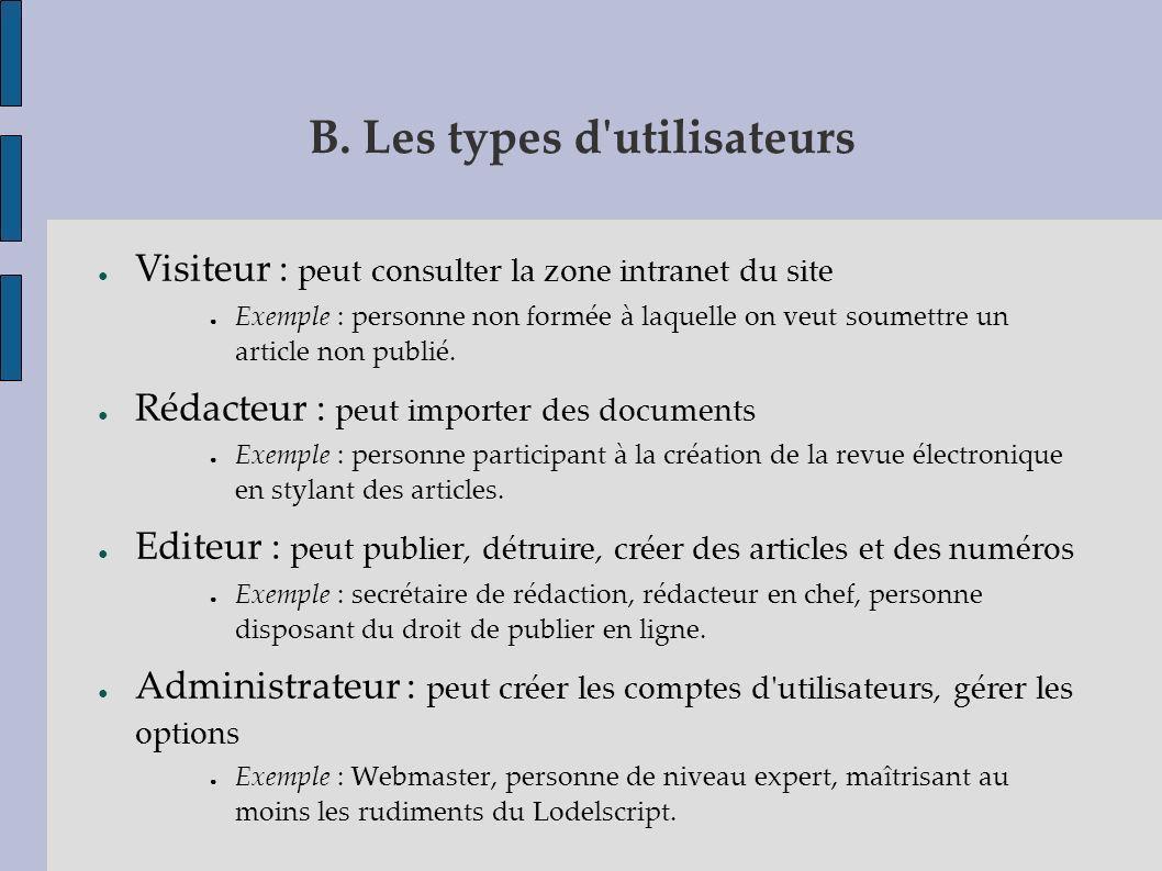 B. Les types d utilisateurs