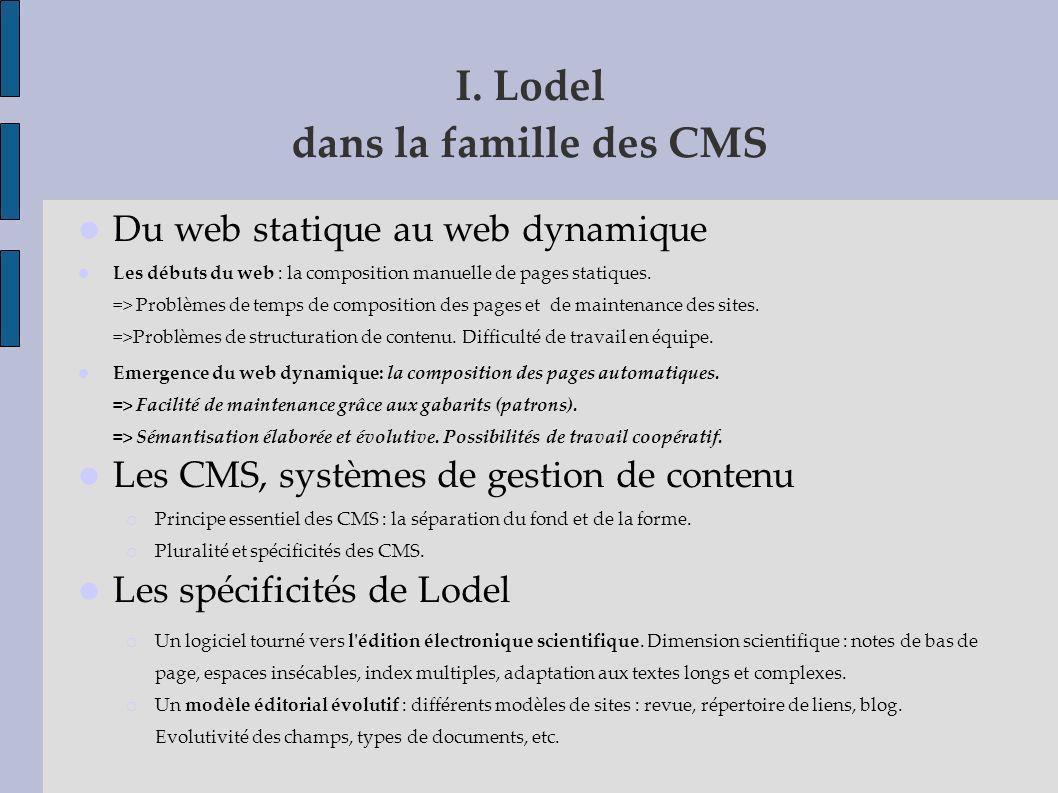 I. Lodel dans la famille des CMS